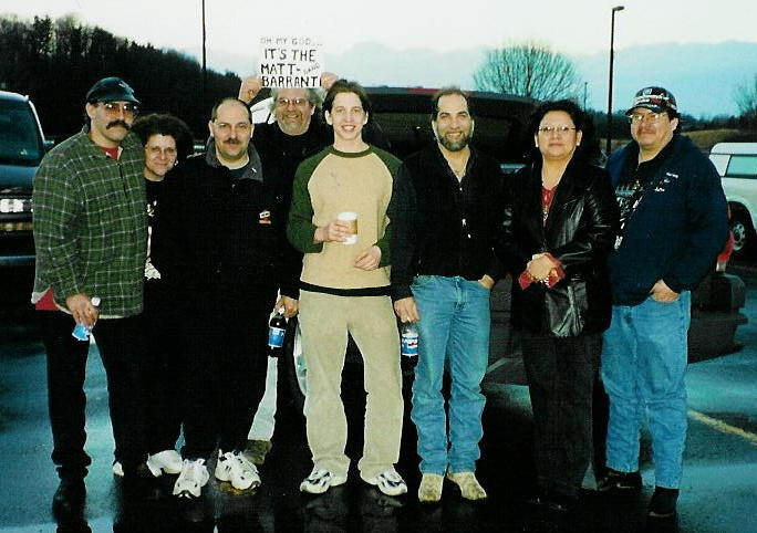 Our pit stop at the Travel Plaza in WVA.  Frank's holding a sign made while on the road, we were flashing this as we caught up with MBB...Folks thought they were rock stars....wait a minute they are Rock Stars...